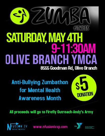 Flyer for Anti-Bullyig Zumbathon by NFusion DeSoto