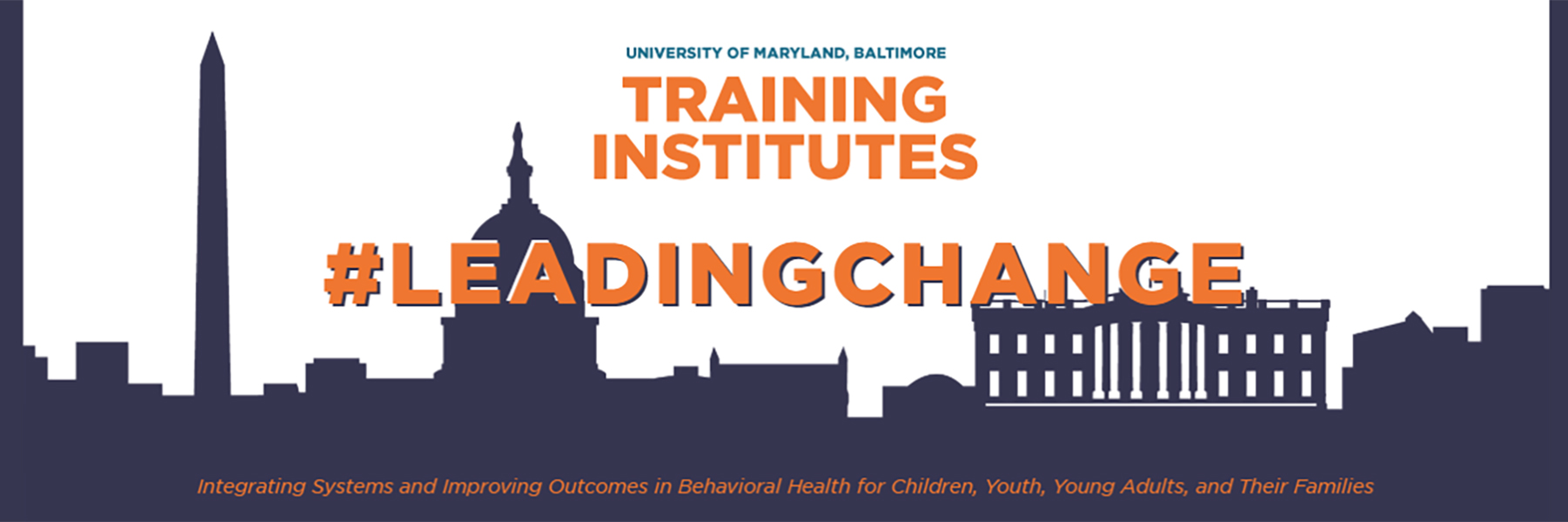 Banner image from 2018 Training Institutes showing name, hashtag, and slogan over Washington, D.C. skyline