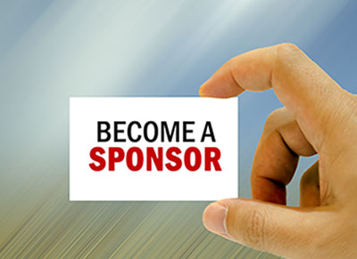 Hand holding card with Become a Sponsor text